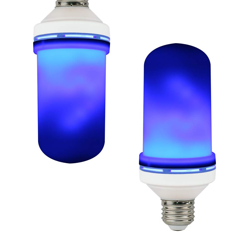 SIXDEFLY 1-Pack LED Flame Effect Fire Light Bulbs E26 with Upside Down Effect Single Fire Original Blue Color Light Simulated Vintage Decor (1 Pack)