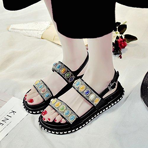 RUGAI-UE Las mujeres sandalias de verano Chunky Soles Black