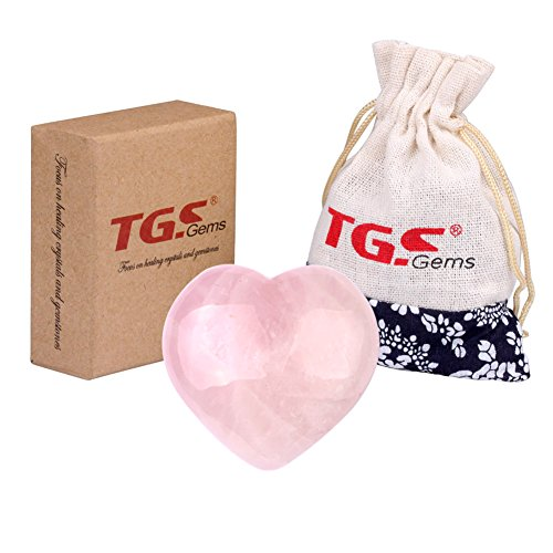 Heart Shaped Rose Quartz (TGS Gems Rose Quartz Carved Puffy Heart Shaped Stones Gifts)