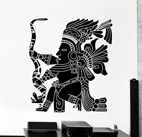 Price comparison product image Large Wall Vinyl Decal Indians Inka Maya Warrior Tribal Home Interior Decor z4101 Gold Metallic