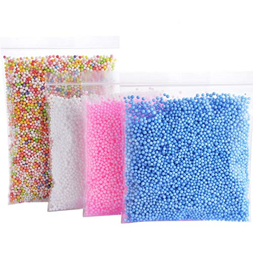 Foam Balls for Slime - Colorful Styrofoam Balls Beads Mini 0.1-0.18 inch 30000 pcs- Decorative Ball Arts DIY Crafts Supplies For Homemade Slime, Kid's Craft, Wedding and Party Decoration (4 Pack)