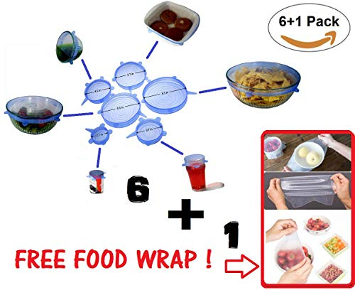 Silicone Stretch Lids + FREE Reusable Food Wrap BONUS PACK - Extra Elastic Version (6+1 Pack) INCLUDES 1 FREE Food Saver & 6 pack of Various Sizes Bowl Covers. Microwave ()