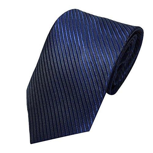 Stripes Necktie Handkerchief - Unisex Novelty Men's Striped Plaid Dress Hand Tie Classic Jacquard Woven Necktie Tie Party Wedding Formal Business Tie (Navy)