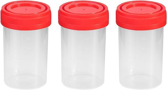 UEETEK Vaso para muestras, 20 piezas Práctico envase de orina de plástico de 60 ml EO estéril sin etiqueta para uso médico de laboratorio (color ...