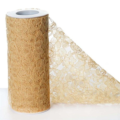 BalsaCircle 6 inches x 10 yards Lace Ribbon Roll - Gold