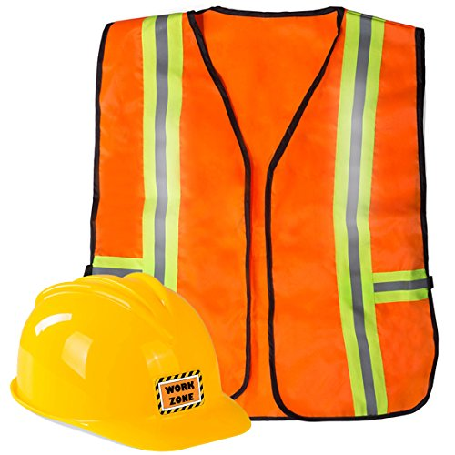 Funny Party Hats Construction Worker Costume for Kids - Construction Costume - Construction Hat and Costume Vest Yellow]()