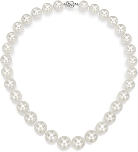 """18/"""" Genuine 10-10.5mm White Round Pearl Strand Necklace Fancy Clasp Cultured"""