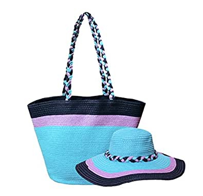 Women Straw Handbag and Hat Set (One Bag + One Hat), Mediterranean Blue