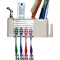 Creatif Ventures Wall Stand Toothbrush Toothpaste Holder Bathroom Mount Dispenser Automatic Set (Standard, White)