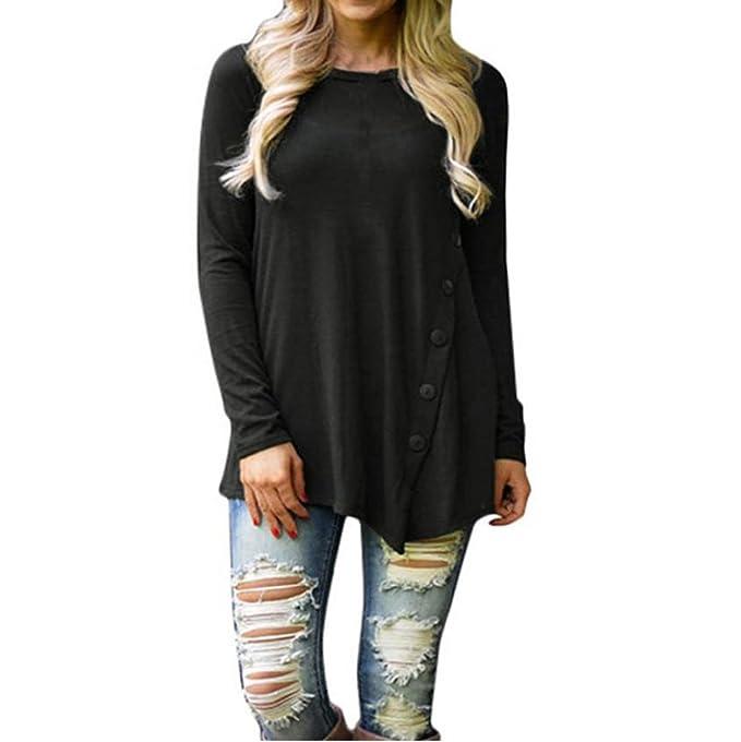 FEITONG Mujer Dama Suelto Manga Larga Tops Blusa Camisa Camiseta Casual (M, Negro)