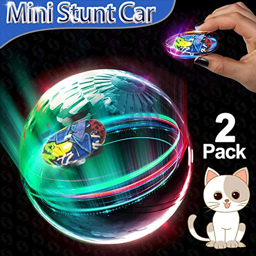 2 Pcs Mini RC Stunt Car 2019 New 360° Rotating High-Speed Racing Car with 5 Mode Hand Remote Control Toy Led Spin Hobby Vehicles Crawlers Chariot Climber Girl Boy Birthday Gifts Valentine Day Gift