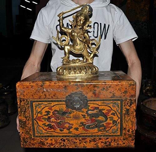 - Wedding Decoration Tibet Bronze Gilt Hold Sword Tara Kwan-yin Buddha Statue lacquerware Wood Set