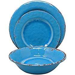 Gianna's Home 12 Piece Rustic Farmhouse Melamine Dinnerware Set, Service for 4 (Easter Egg Blue)