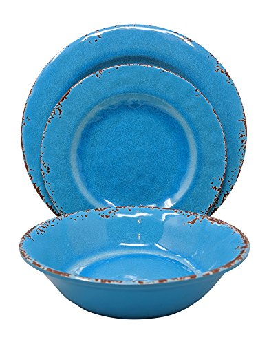 Giannau0027s Home 12 Piece Rustic Farmhouse Melamine Dinnerware Set Service for 4 (Easter Egg Blue)  sc 1 st  Plate Dish. : microwave melamine dinnerware - pezcame.com