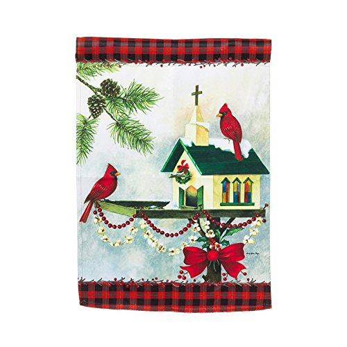 Evergreen Suede Christmas in the Garden Flag, 12.5 x 18 inch