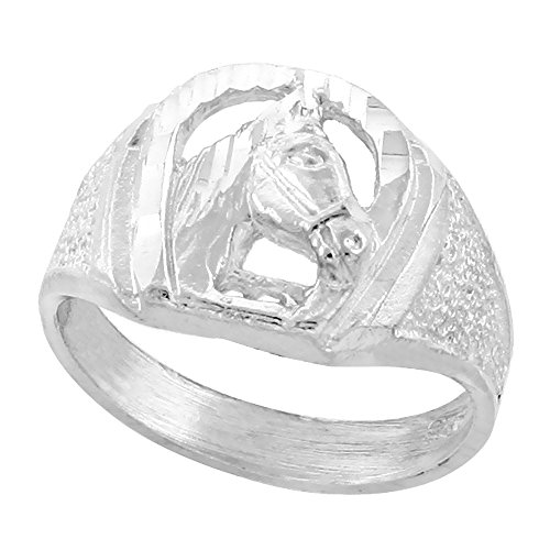 (Sterling Silver Small Horseshoe Ring Horse Head Diamond Cut Finish 1/2 inch wide, size 7)