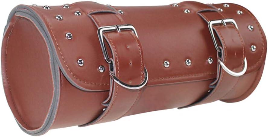 BESPORTBLE Bolsa de Colgar de la Motocicleta Bolsa de Cuero Impermeable de la PU Bolsa de Colgar de la Motocicleta Caja de Gadgets con Correas para Moto (Negro)
