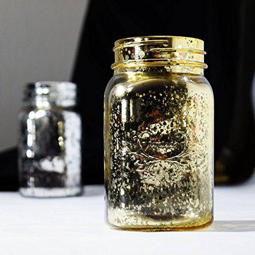 Fantado Regular Mouth Gold Mercury Glass Mason Jar, 16oz / 1 Pint by PaperLanternStore -