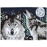 "Wonderart Midnight Wolves Latch Hook Kit, 27"" X 40"""