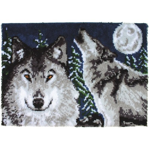 Wonderart Midnight Wolves Latch Hook Kit, 27