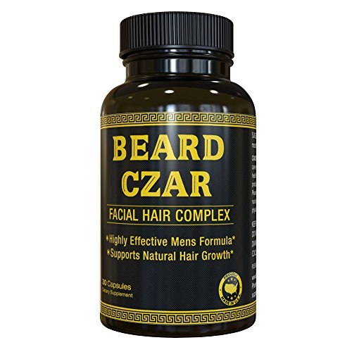 The Beard Czar-Facial Hair Complex- Highly Effective Mens Formula- Supports Natural Hair Growth-Improve Beard Quality and Nourishment-30 Capsules - Facial Hair Beard