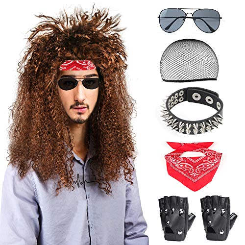 Beelittle 80s Men's Heavy Metal Rock Wig Punk Disco Halloween Costume Accessories Kit for Men (C)
