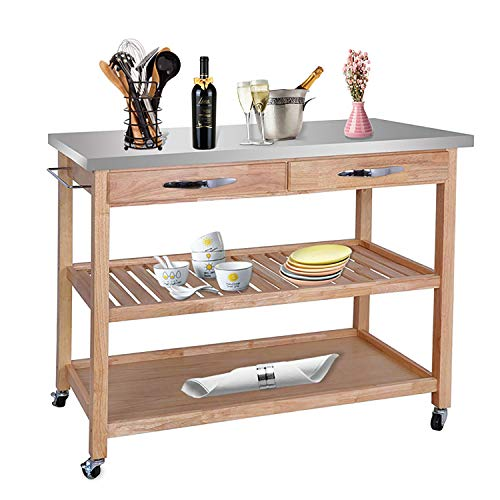 HomGarden Rolling Kitchen Island Utility Wood Serving Cart w/Stainless Steel Countertop, Drawers Shelves & Cabinet for Storage ()