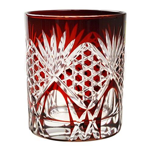 Double Old Fashioned Glass 9.4Oz Edo Kiriko Cut Glass Rokkaku Kagome Hexagonal Pattern - Red [Japanese Crafts Sakura] by Japanese Crafts Sakura
