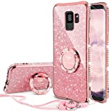Galaxy S9 Case, Glitter Bling Diamond Rhinestone Bumper Cute Galaxy S9 Phone Case for Girls with Ring Kickstand Sparkly Protective Samsung Galaxy S9 Case for Girl Women - Rose Gold [ Pink ]