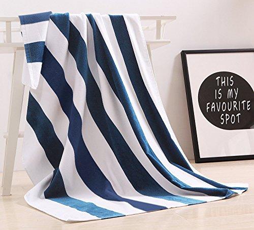 Exclusivo Mezcla 100% Cotton Oversized Large Beach Towel,Pool Towel (Cabana Stripe, 35