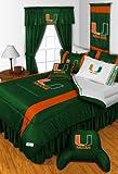 Miami Hurricanes KING Size 14 Pc Bedding Set (Comforter, Sheet Set, 2 Pillow Cases, 2 Shams, Bedskirt, Valance/Drape Set (84-inch drape length) & Matching Wall Hanging) - SAVE BIG ON BUNDLING!
