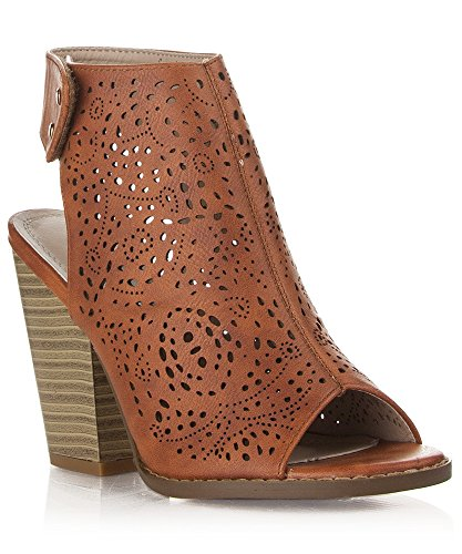 RF ROOM OF FASHION Laser Cut Wood Block High Heel Mule Sandals - Open Toe Slip On Ankle Booties - Velcro or Buckle Closure Tan (9)