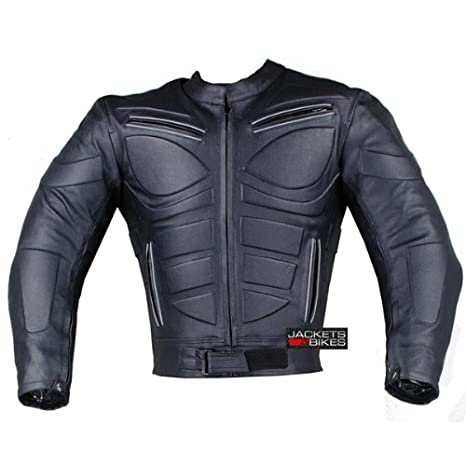 Men,s MOTORCYCLE BIKER ARMORED RACER JACKET LEATHER FULL GRAIN XL ARMORED PERFORATED BLACK WITH EXTERNAL ARMOR MBJ-1728A