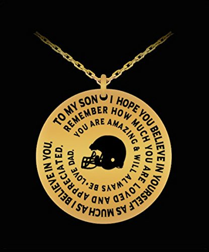 Football Necklace For Boys - Gold Laser Engraved Pendant Charm - Dad To Son - Personalized Gift