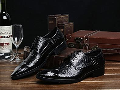 Jsix Mens Real Leather Dress Formal Shoes Lace Up Crocodile Embossed