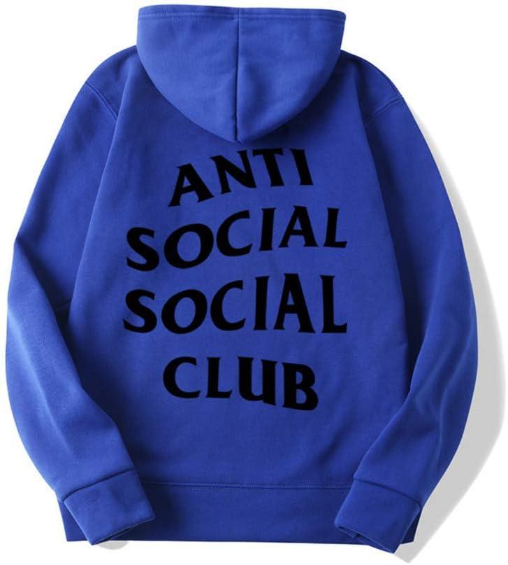 ZDGM Sudadera con Capucha y Anti Social Social Club Letra Impresa Unisex de Su/éter de Cuello Redondo con Capucha Pullover Rapero de Hip Hop Kanye Capucha