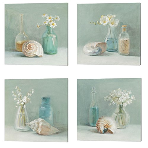 Flower Spa by Danhui Nai, 4 Piece Canvas Art Set, 14 X 14 Inches Each, Bathroom Art