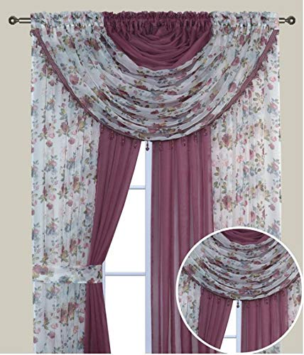 Elegant Home Complete Window Sheer Curtain All-in-One Set with 4 Panels and 2 Valances and Two Tiebacks for Living Room, Dining Room, Or Any Other Windows- Laura (Burgundy Flower/Rose Solid)