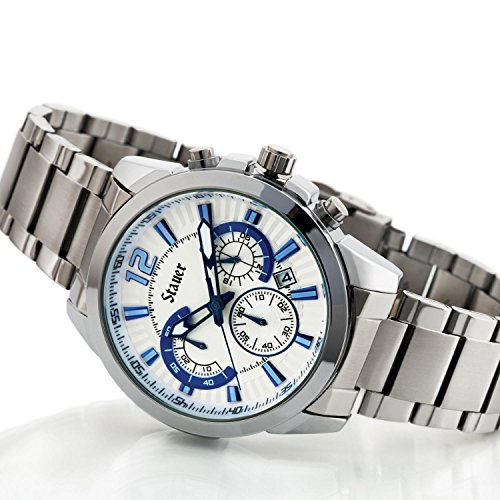 Steuer Men's Classic Chronograph Watch with Stainless Steel Bracelet