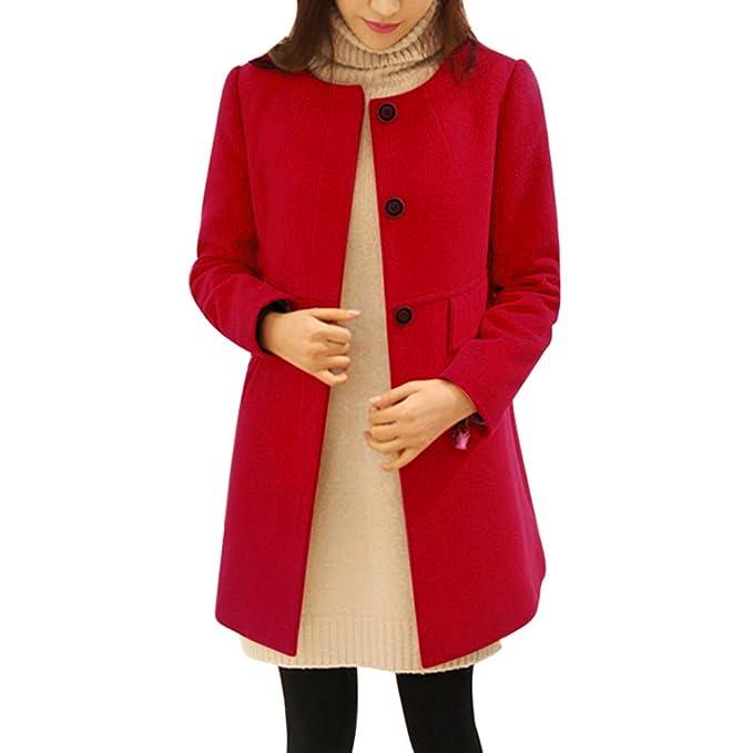 Xmiral Abrigo de Lana Suelto para Mujeres Cuello Redondo Chaqueta Color Sólido Cardigan Cierre de Botones