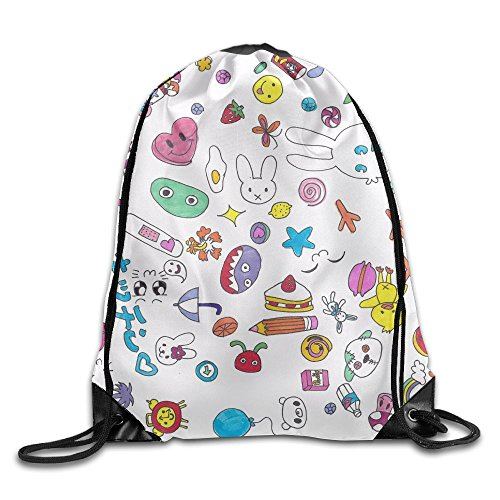 Kawaii Pattern Wallpaper Drawstring Bags Portable Backpack Travel Sport Gym Bag Yoga Runner Daypack Shoe -