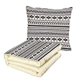 iPrint Quilt Dual-Use Pillow Native American Aztec American Folkloric Art Borders Ancient Tribal South America Culture Decorative Multifunctional Air-Conditioning Quilt Black White