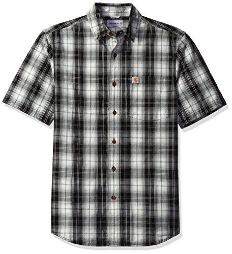 carhartt-mens-essential-plaid-button-down-short-sleeve-shirt-black-x-large