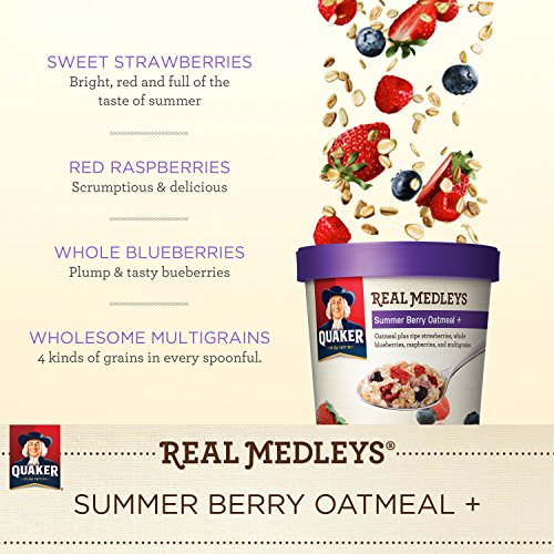030000315521 - Quaker Real Medleys Oatmeal+, Summer Berry, Instant Oatmeal+ Breakfast Cereal, 2.46 oz Cup (Pack of 12) carousel main 4