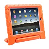 HDE iPad Air Bumper Case for Kids Shockproof Hard Cover Handle Stand with Built in Screen Protector for Apple iPad Air 1 (Orange)