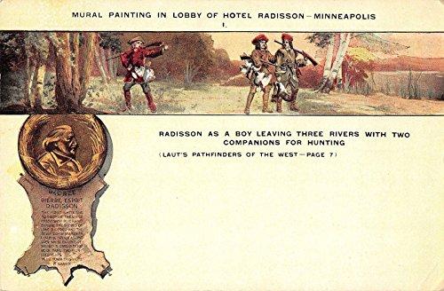 Minneapolis Minnesota Hotel Radisson Mural in Lobby Antique Postcard J24372