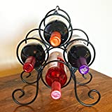 Superiore Livello Roma 4 Bottle Countertop Wine Rack Free-Standing Metal Bottle Holder and Storage Perfect for Bar, Cellar, Cabinet and Pantry in Classy, Decorative, Modern and Sturdy Black Finish