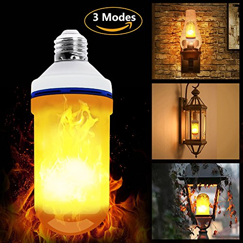 Upside Down Fire Flame Light Bulbs, LED Flickering Flame Effect Light Bulb E26 Decorative Lighting for Indoor and Outdoor Bar/Home/Backyard Decoration (3 Modes)