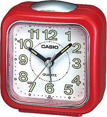 (Casio #TQ-142-4 Table Top Travel with Light Alarm Clock Red)