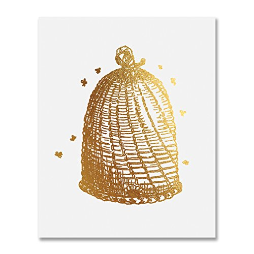 Vintage Beehive Gold Foil Decor Bees Wall Art Sketch Bee Hive Print Sign Metallic Poster 8 inches x 10 inches ()